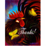 Black Rooster With Butterfly Painting Cut Out