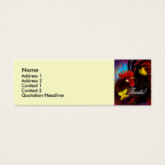 Black Rooster With Butterfly Painting Mini Business Card