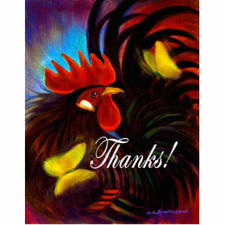 Black Rooster With Butterfly Painting Statuette