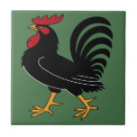 """Black Rooster with Red Comb Tile<br><div class=""""desc"""">Bold barnyard image.</div>"""