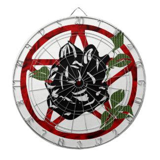 Black Rose and Pentagram Dartboard With Darts