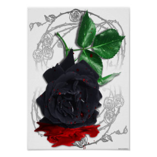 Black Rose Bleeding Blood Surreal Gothic Poster
