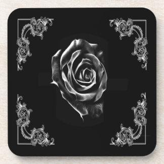 Black  rose by artD design Beverage Coaster
