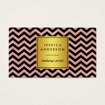 Professional Business Black & Rose Chevron Makeup Artist Business Card