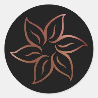 Black Rose Gold Blush Metallic Mandala Ornament Classic Round Sticker