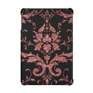 Black & Rose Gold Damask iPad Mini Case