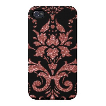 Black & Rose Gold Damask Case For iPhone 4