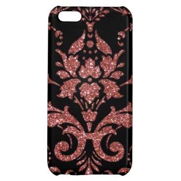 Black & Rose Gold Damask Case For iPhone 5C