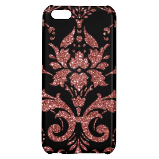 Black & Rose Gold Damask Case For iPhone 5C