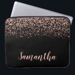 "Black Rose Gold Faux Glitter Personalized Laptop Sleeve<br><div class=""desc"">Modern black and rose gold faux glitter laptop sleeve design. Add a name for a custom touch.</div>"