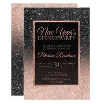 Black rose gold glitter elegant chic New year Card