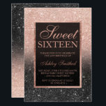 """Black rose gold glitter elegant chic Sweet 16 Card<br><div class=""""desc"""">A modern,  pretty chic and elegant faux rose gold glitter shower ombre black glitter Sweet 16 birthday party invitation with rose gold ombre pattern with and elegant gold frame Perfect for a princess Sweet sixteen.</div>"""
