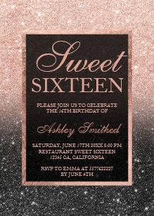 Black Rose Gold Glitter Elegant Chic Sweet 16 Invitation