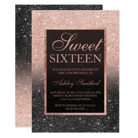 black rose gold glitter elegant chic sweet 16 invitation zazzle com