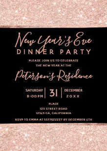 rose gold new year invitations zazzle