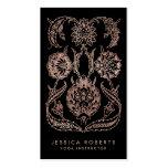 Black Rose Gold Look Art Nouveau Floral Fashion Business Card