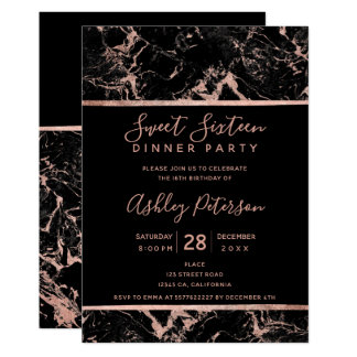 Black rose gold marble typography Sweet 16 Card