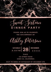 rose gold sweet 16 invitations zazzle