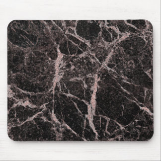 Black & Rose Gold Pink Glitter Marble Glam Trendy Mouse Pad
