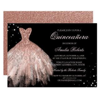 Black Rose Gold Sparkle Dress Quinceanera Invite