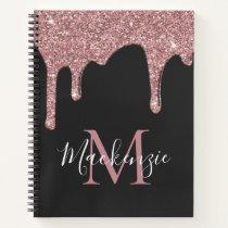 Black Rose Gold Sparkle Glitter Drips Monogram Notebook
