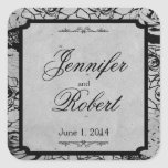 Black Rose Gothic Frame Wedding Envelope Seal Stickers