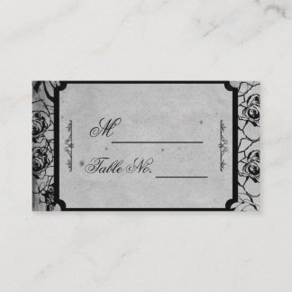 Black Rose Gothic Frame Wedding Place Card