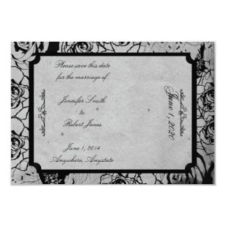Black Rose Gothic Frame Wedding Save the Date Card