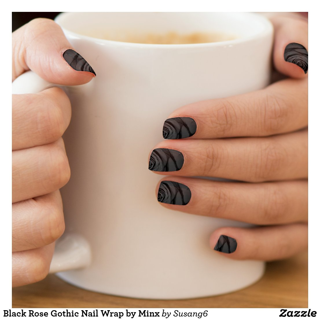 Black Rose Gothic Nail Wrap by Minx