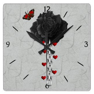 Black Rose Of Love Square Wall Clocks