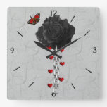 Black Rose Of Love Square Wall Clocks
