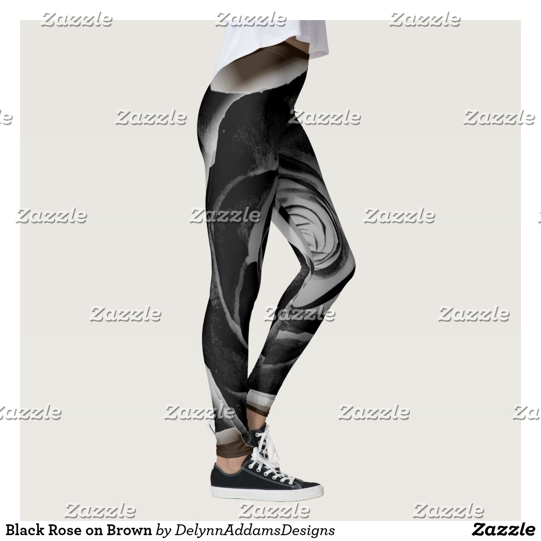 Black Rose on Brown Leggings