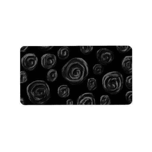 Black Rose Pattern Design. Personalized Address Label