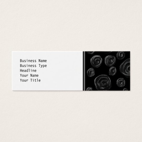 Black Rose Pattern Design. Mini Business Card