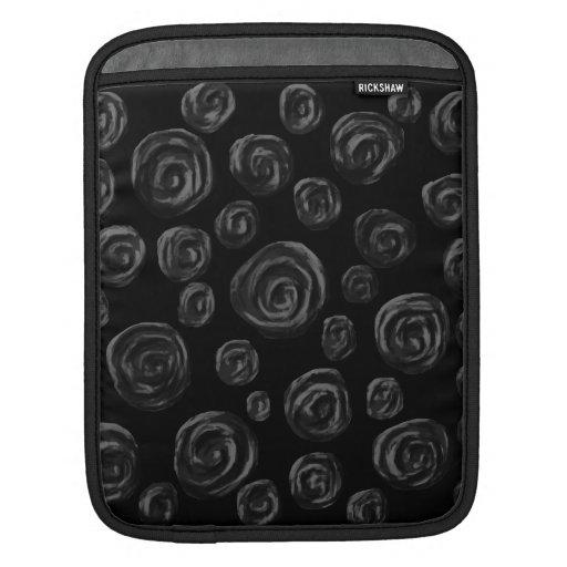Black Rose Pattern Design. Sleeve For iPads