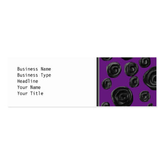 Black Rose Pattern on Dark Purple. Double-Sided Mini Business Cards (Pack Of 20)