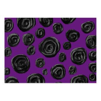 Black Rose Pattern on Dark Purple. Large Business Cards (Pack Of 100)