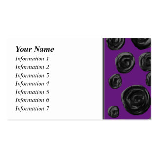 Black Rose Pattern on Dark Purple. Double-Sided Standard Business Cards (Pack Of 100)
