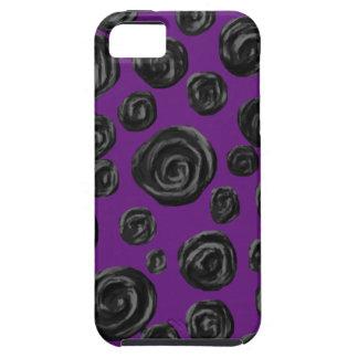 Black Rose Pattern on Dark Purple. iPhone SE/5/5s Case
