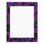 Black Rose Pattern on Dark Purple. Letterhead Template