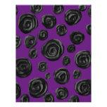 Black Rose Pattern on Dark Purple. Letterhead Design