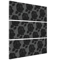 Black Rose Pattern on Grey Canvas Print