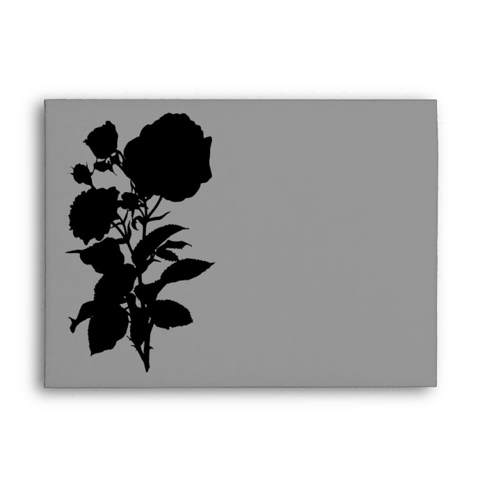 Black Rose Silhouette A7 Envelopes