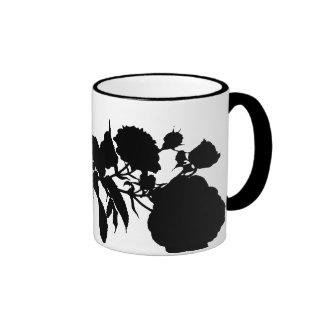 Black Rose Silhouette Coffee Mugs