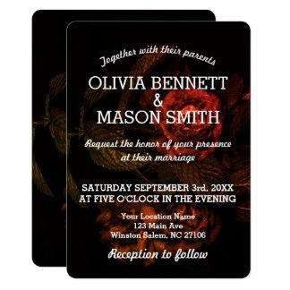 Black Rose textured Wedding Card