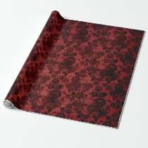 Black Roses and Skulls on Red Wrapping Paper