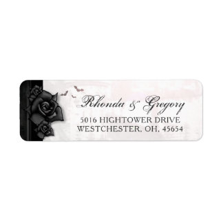 Black Roses Bats Gothic Halloween Wedding Address Label