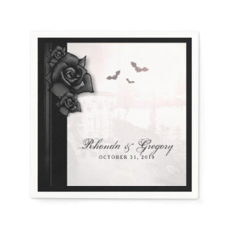 Black Roses & Bats Gothic Halloween Wedding Napkin