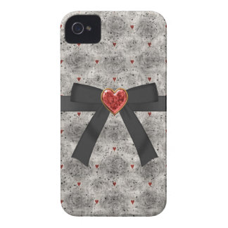 Black Roses Bow Red Jewel Heart iPhone 4 iPhone 4 Covers