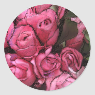 black roses cover classic round sticker